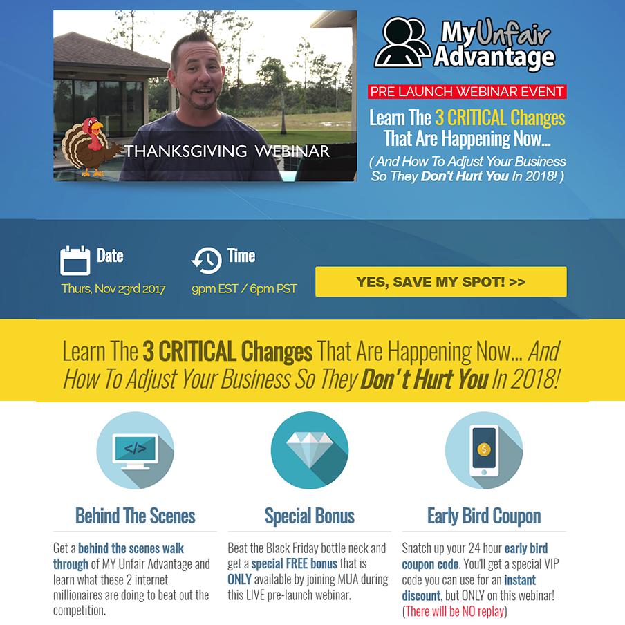 MyUnfair Advantage Pre-Launch Webinar