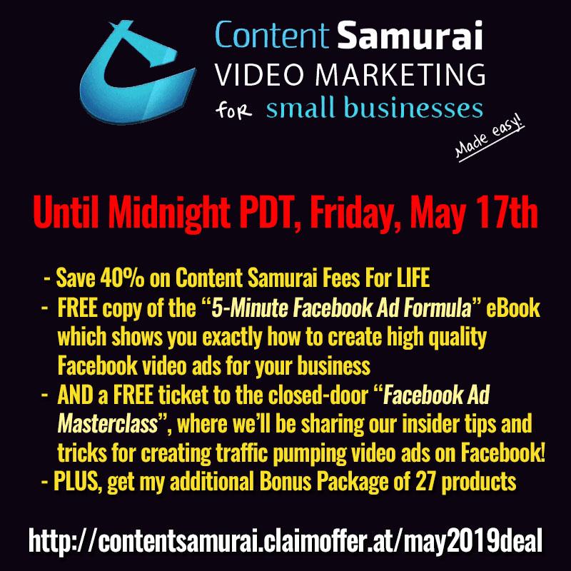 Content Samurai May 2019 40% Discount