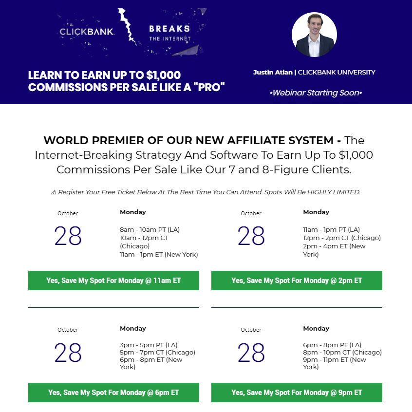 Webclass: Invite To See Clickbank's New Affiliate System