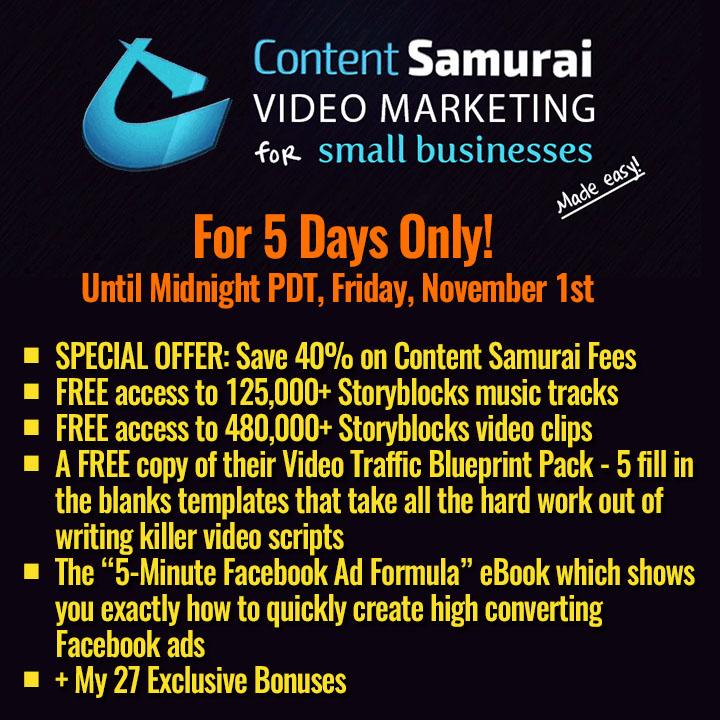 Content  Samurai 40% Lifetime Discount October 2019